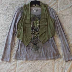 Women's Long Sleeve Shirt with Vest